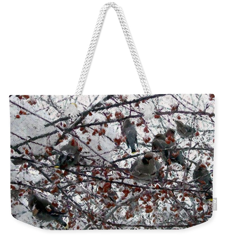 Apples Weekender Tote Bag featuring the digital art Crab Apples by Ron Bissett