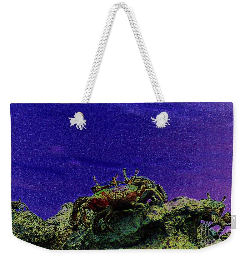 Crab Weekender Tote Bag featuring the digital art Crab Cakez 5 by Kim Pate