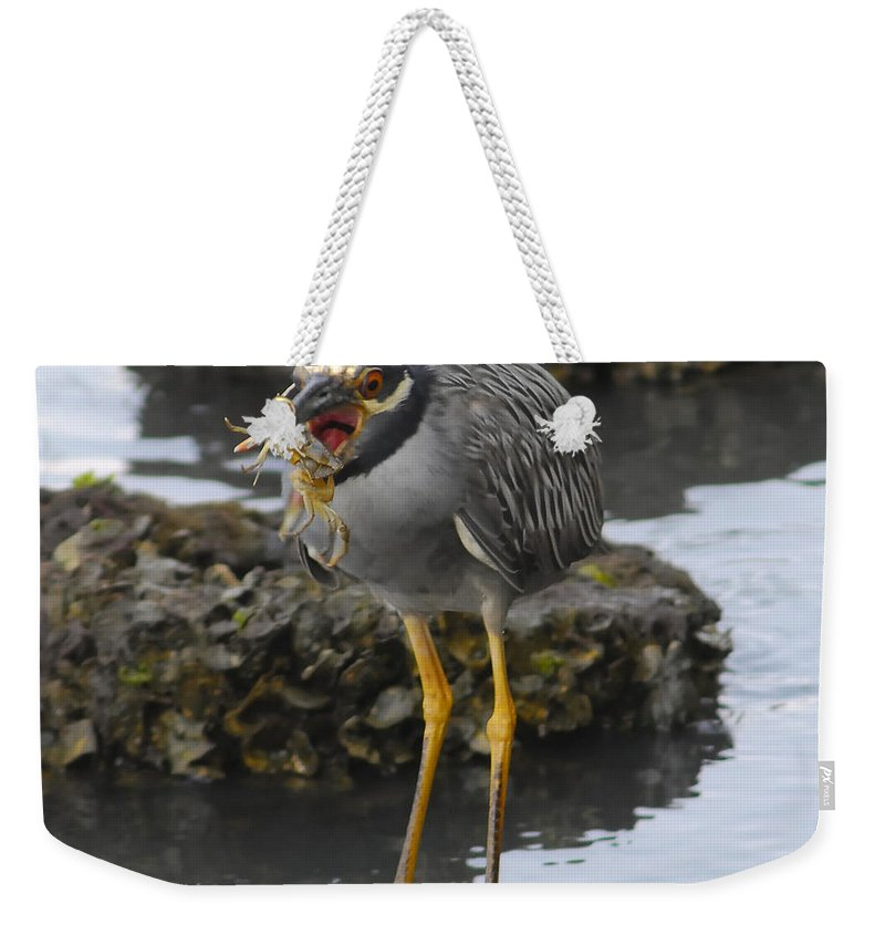 Wildlife Photography Weekender Tote Bag featuring the photograph Crab Delight by David Lee Thompson