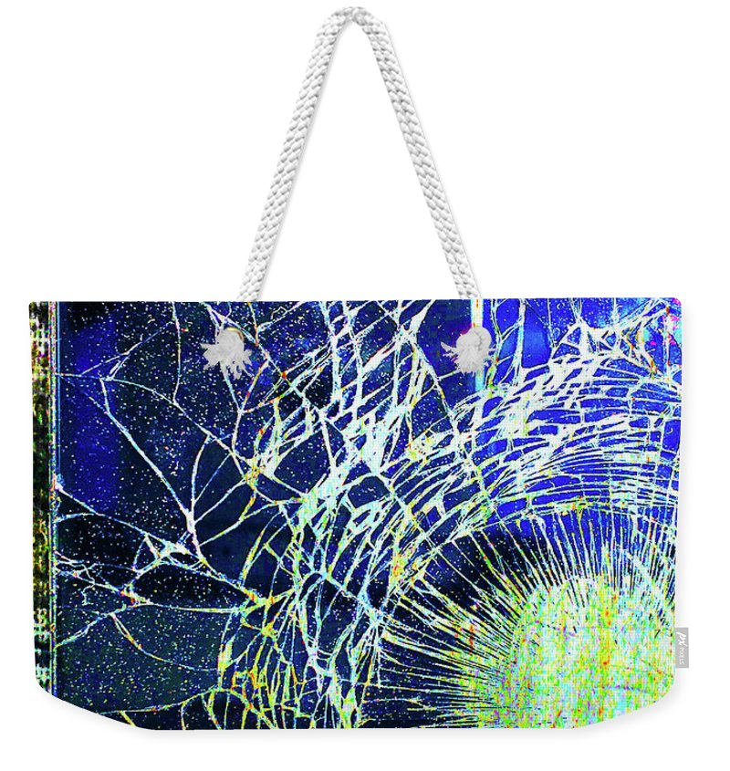 New York City Weekender Tote Bag featuring the mixed media Crack by Tony Rubino
