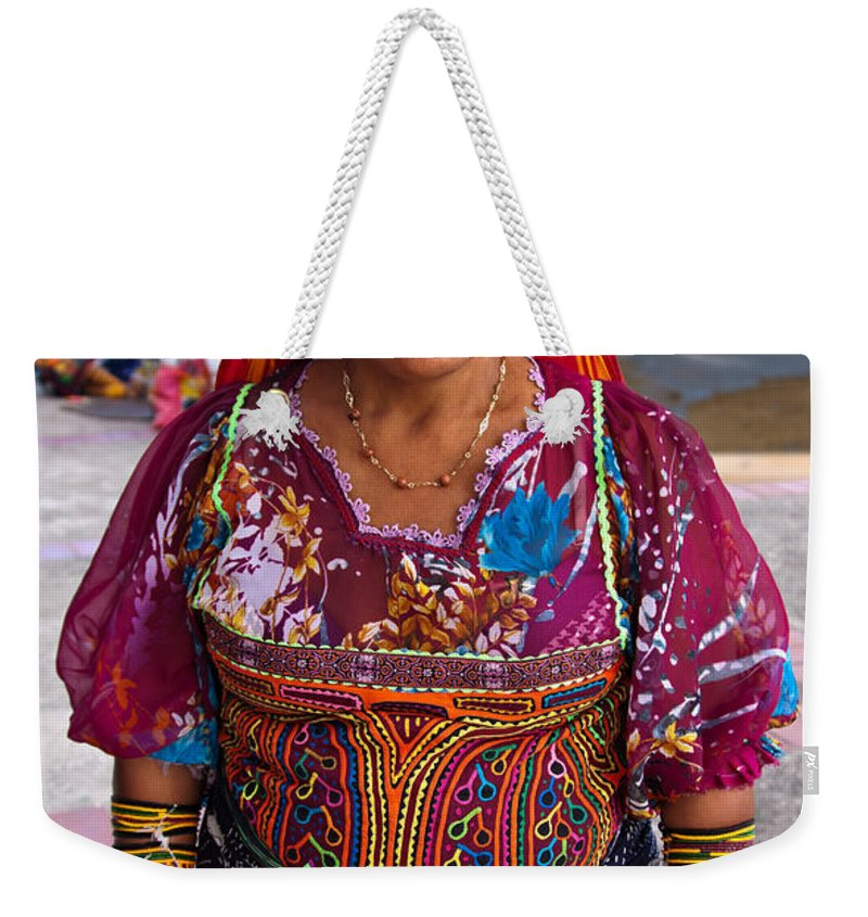 Crafts Weekender Tote Bag featuring the photograph Craft Vendor In Panama City, Panama by Tatiana Travelways