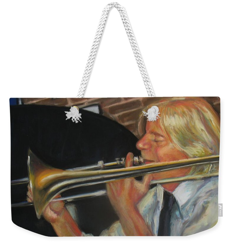 Pastel Weekender Tote Bag featuring the painting Craig At Palm Court by Beverly Boulet