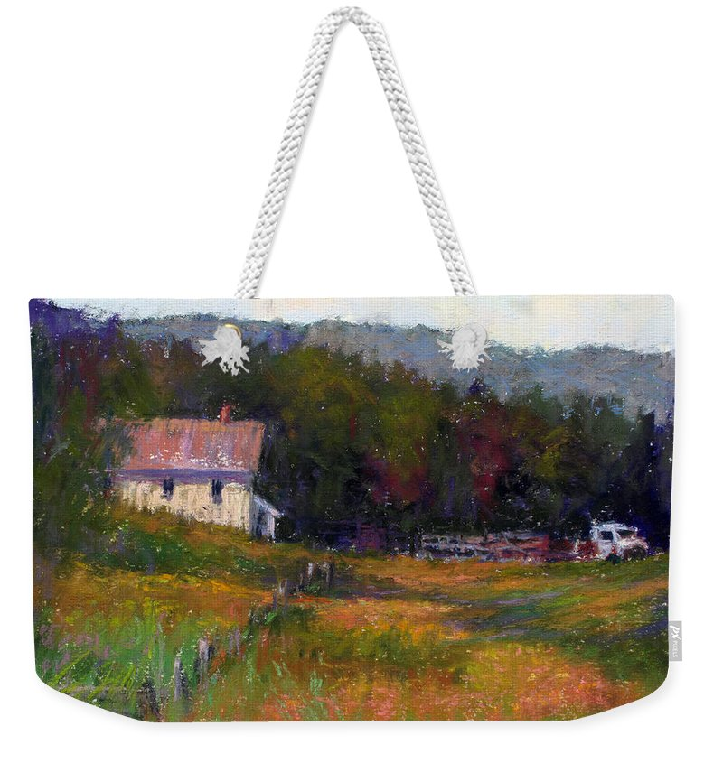 Landscape Weekender Tote Bag featuring the painting Crammond Farm by Susan Williamson