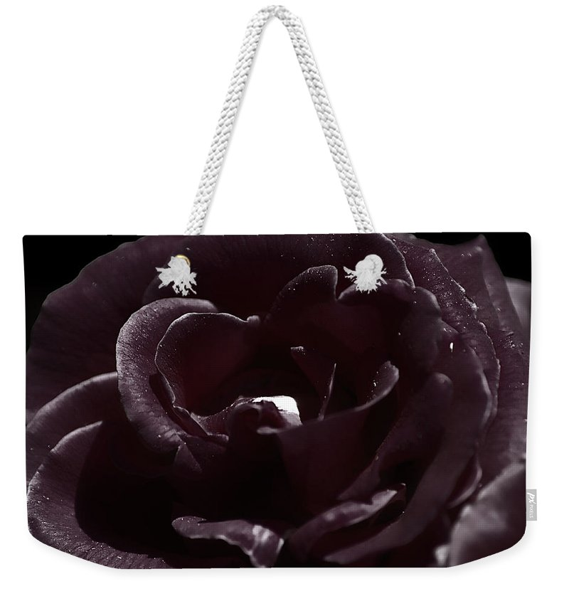 Clay Weekender Tote Bag featuring the photograph Cranberry Rose by Clayton Bruster