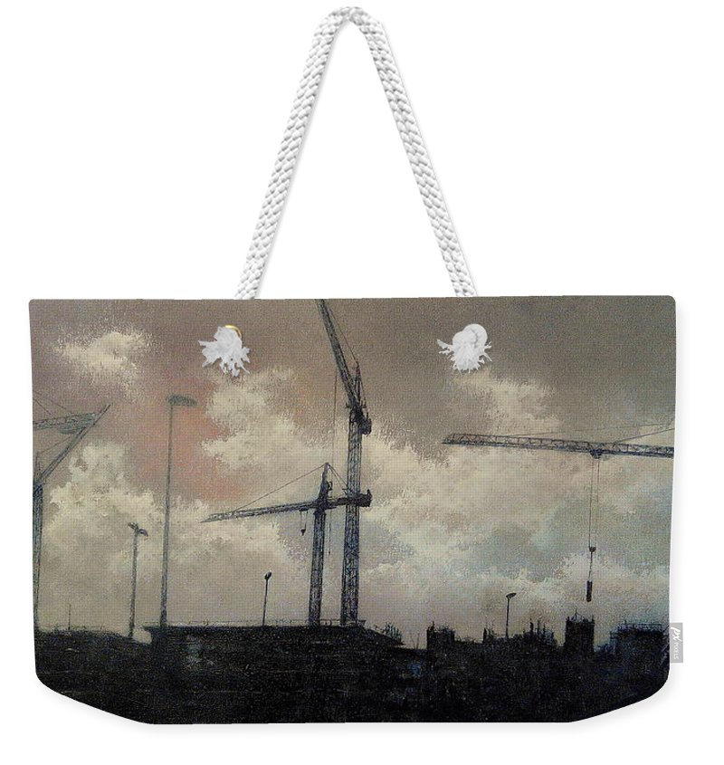 Cranes Weekender Tote Bag featuring the painting Cranes and construction by Tomas Castano