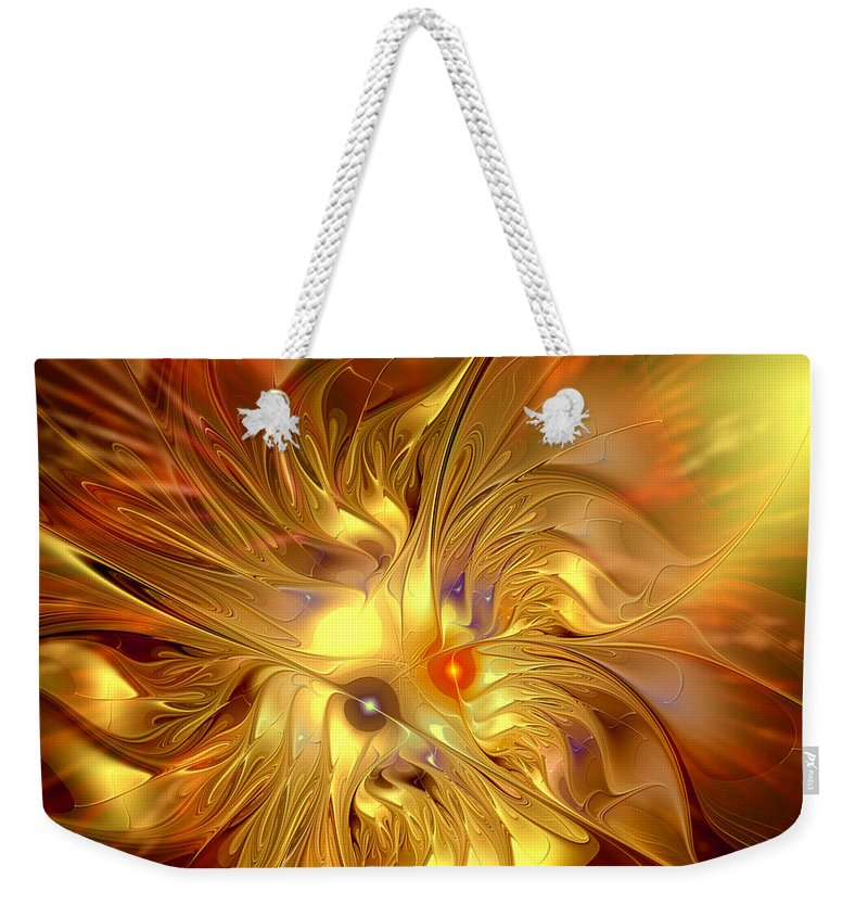 Abstract Weekender Tote Bag featuring the digital art Cranial Supernova by Casey Kotas