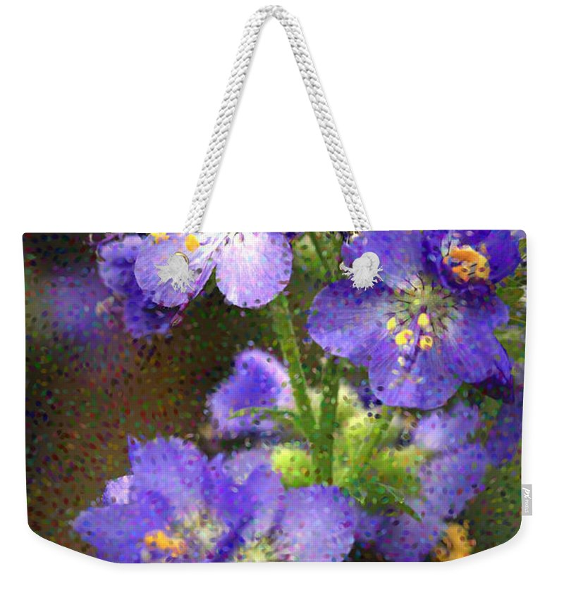 Flowers Weekender Tote Bag featuring the photograph Craquelure On Blue by Deborah Benoit