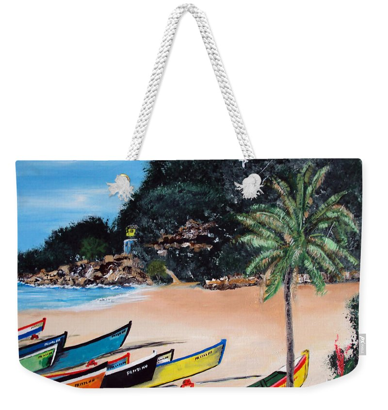 Aguadilla Weekender Tote Bag featuring the painting Crashboat Beach I by Luis F Rodriguez