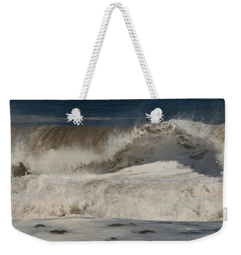 Jersey Shore Weekender Tote Bag featuring the photograph Crashing - Jersey Shore by Angie Tirado