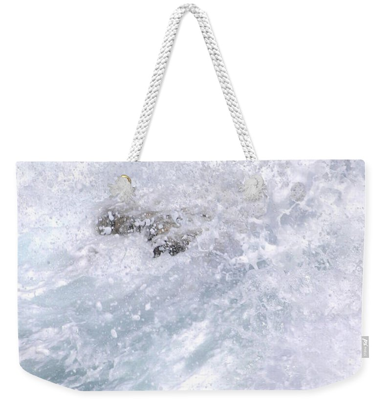 White Water Weekender Tote Bag featuring the photograph Crashing Against Lava Rocks by Mary Deal