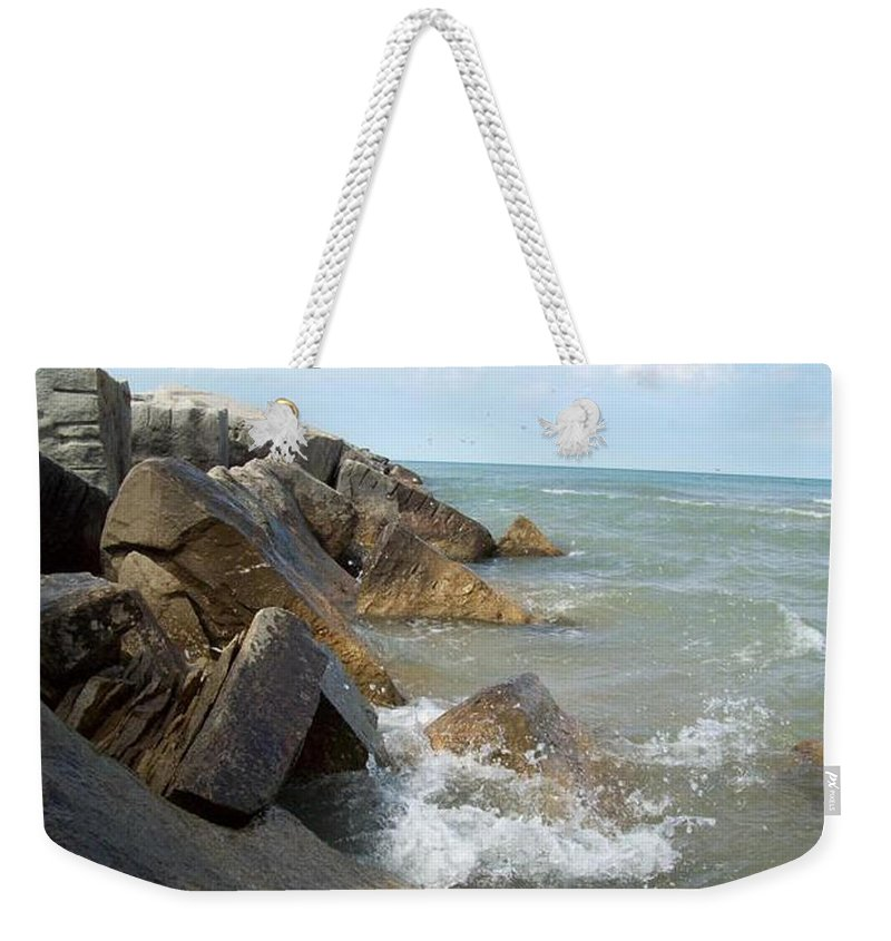 Tmad Weekender Tote Bag featuring the photograph Crashing Beauty by Michael TMAD Finney