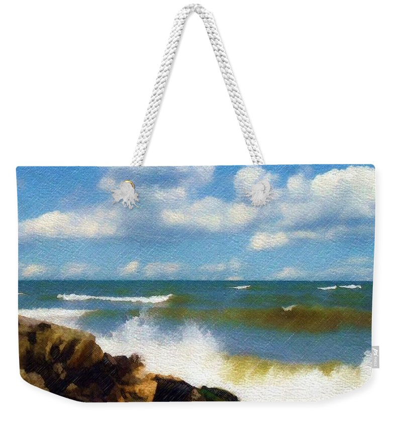 Seascape Weekender Tote Bag featuring the photograph Crashing Into Shore by Sandy MacGowan