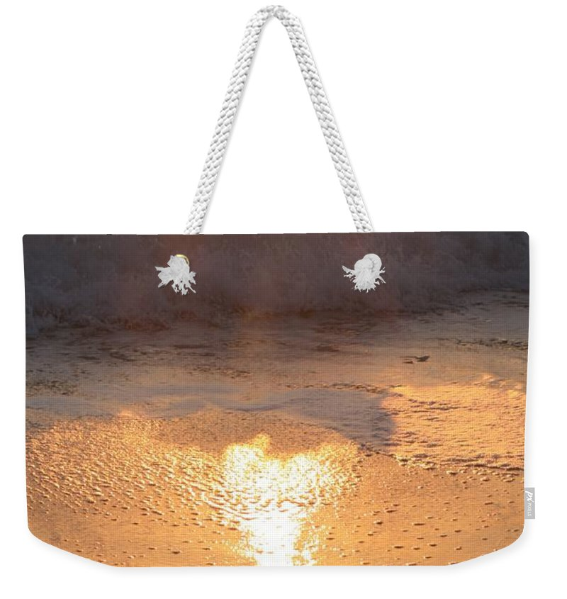 Waves Weekender Tote Bag featuring the photograph Crashing Wave At Sunrise by Nadine Rippelmeyer