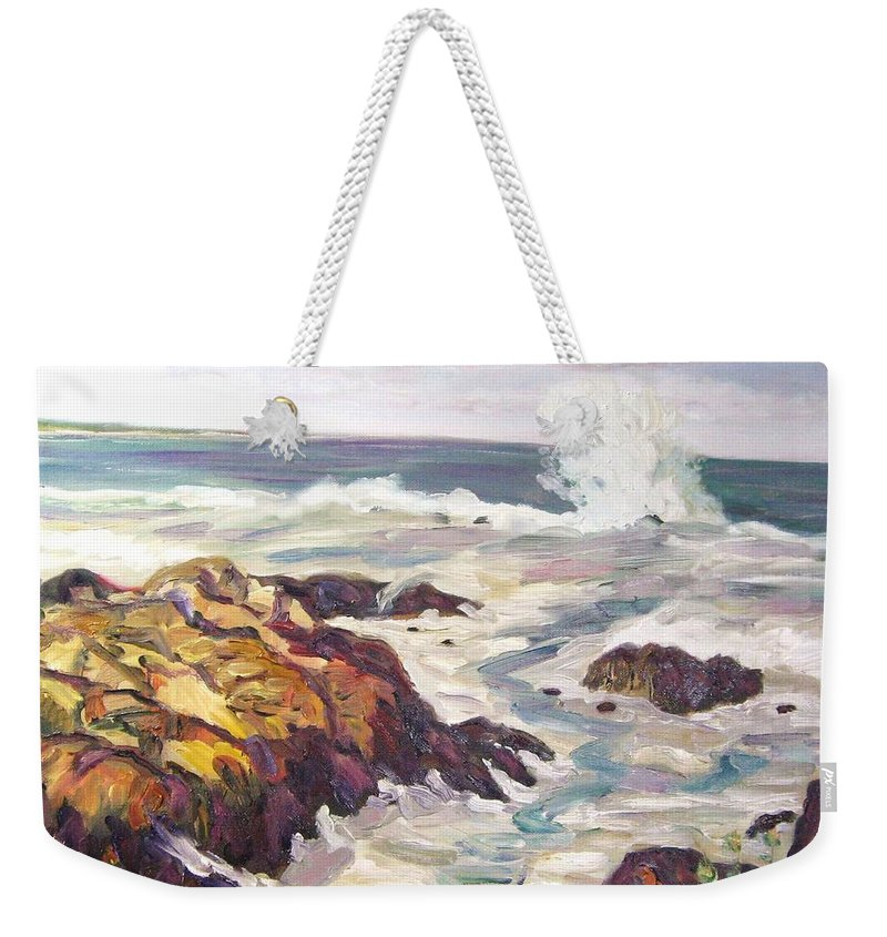 Water Weekender Tote Bag featuring the painting Crashing Wave On Maine Coast by Richard Nowak