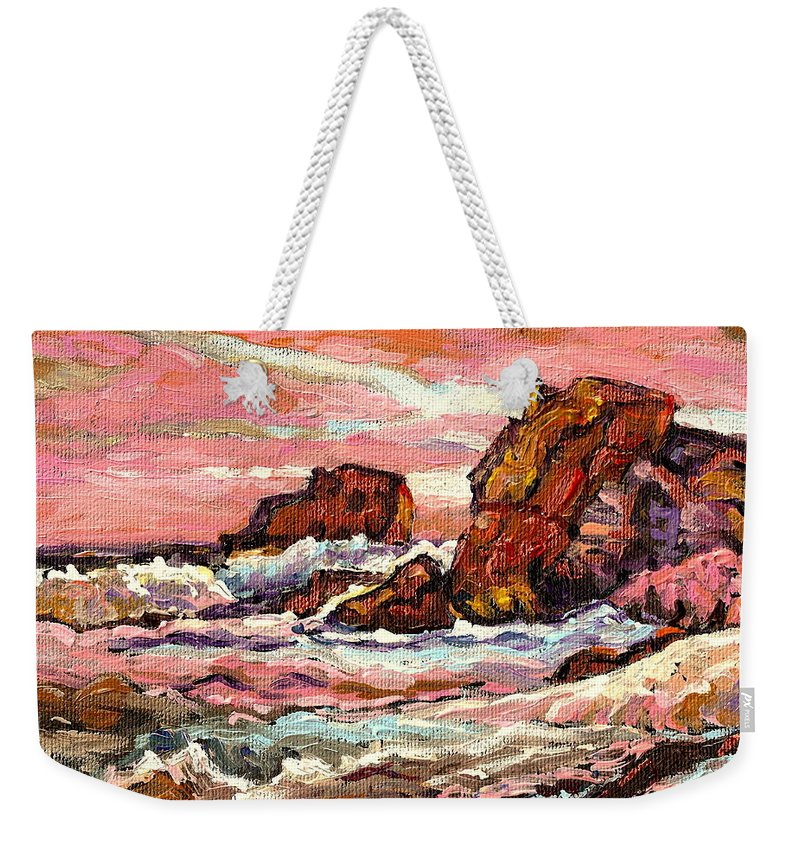 Seascapes Weekender Tote Bag featuring the painting Crashing Waves At Sunset Majestic Seascape by Carole Spandau
