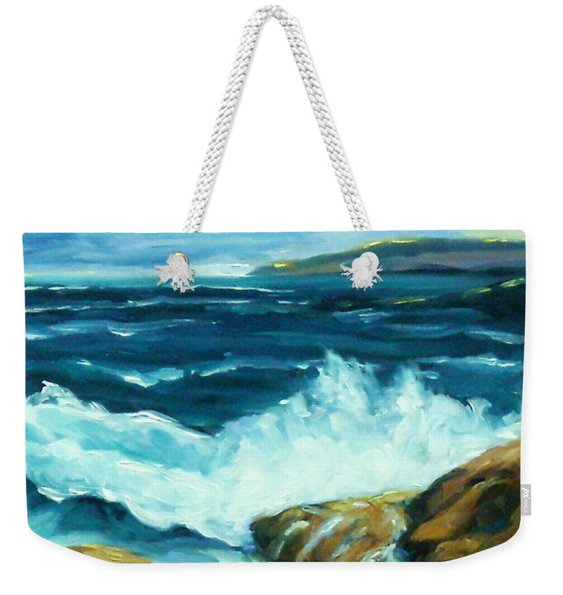 Sea Weekender Tote Bag featuring the painting Crashing Waves by Richard T Pranke