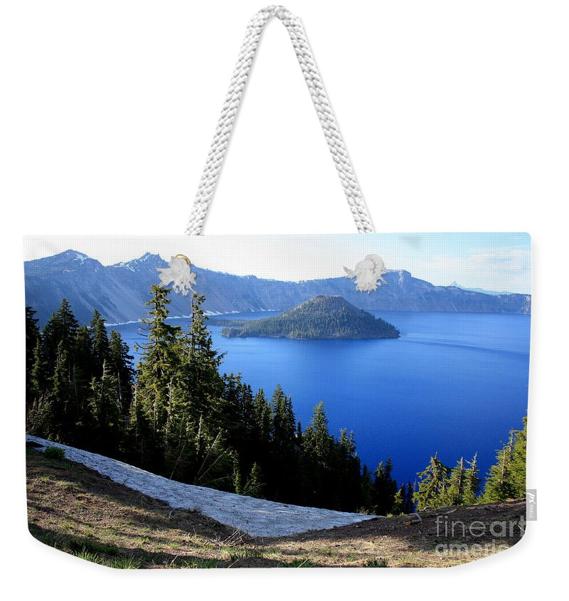 Crater Lake Weekender Tote Bag featuring the photograph Crater Lake 12 by Carol Groenen