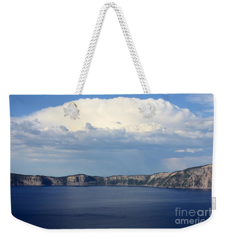 Clouds Weekender Tote Bag featuring the photograph Crater Lake by Carol Groenen
