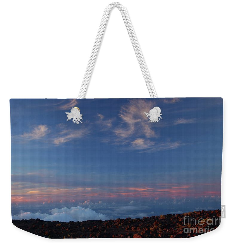 Hawaii Volcano Crater Sun Set Weekender Tote Bag featuring the photograph Crater Sunset by Cat Pancake