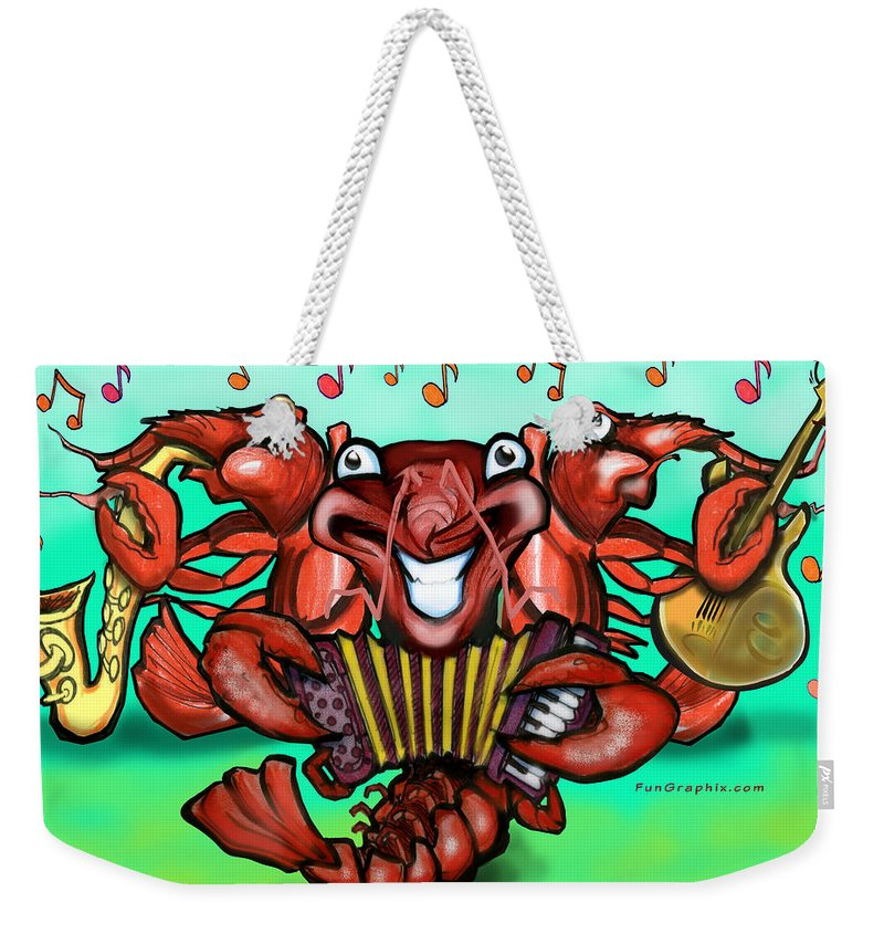 Crawfish Weekender Tote Bag featuring the greeting card Crawfish Band by Kevin Middleton