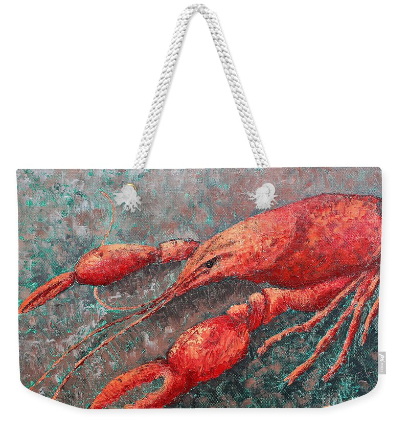 Animal Weekender Tote Bag featuring the painting Crawfish by Todd A Blanchard