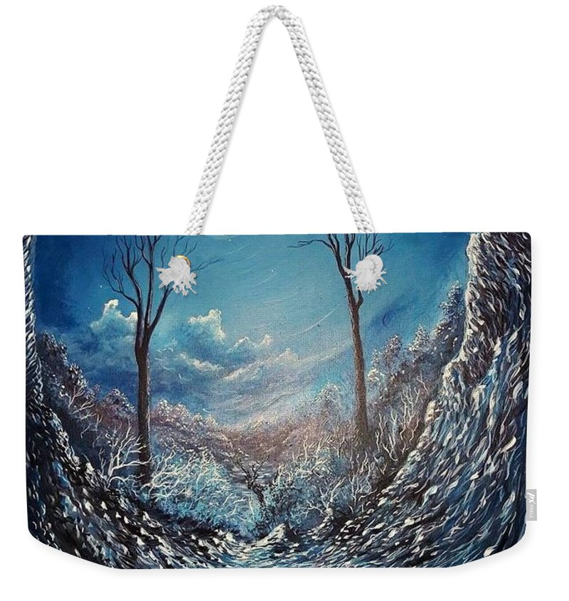 Moon Weekender Tote Bag featuring the painting Crawling Out by Monika Bickei