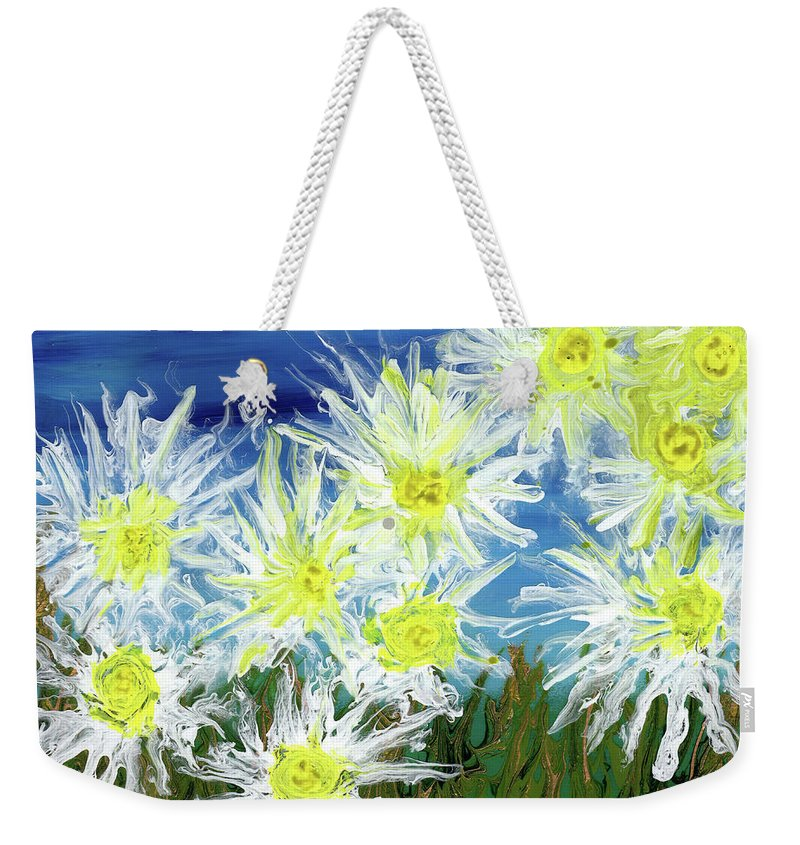 White Weekender Tote Bag featuring the painting Crazy Daisies by Cindy Johnston