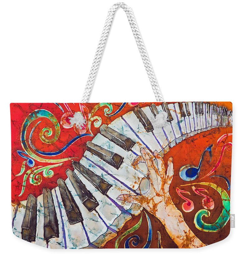 Piano Weekender Tote Bag featuring the tapestry - textile Crazy Fingers - Piano Keyboard by Sue Duda