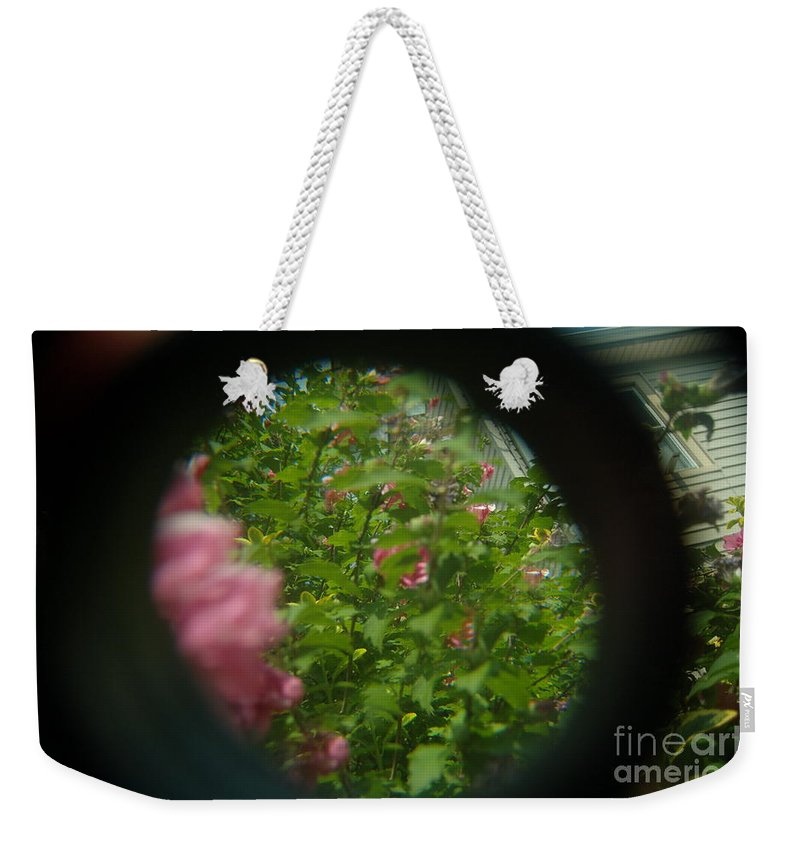 Abstract Weekender Tote Bag featuring the photograph Crazy Floral Three by Alwyn Glasgow