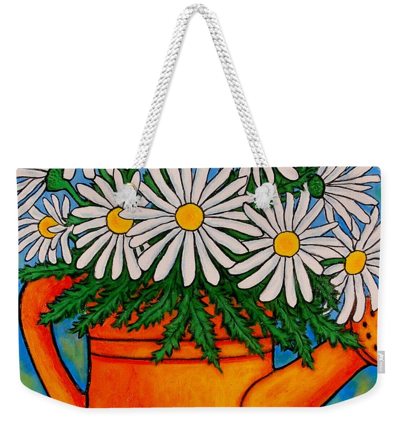 Daisies Weekender Tote Bag featuring the painting Crazy For Daisies by Lisa Lorenz