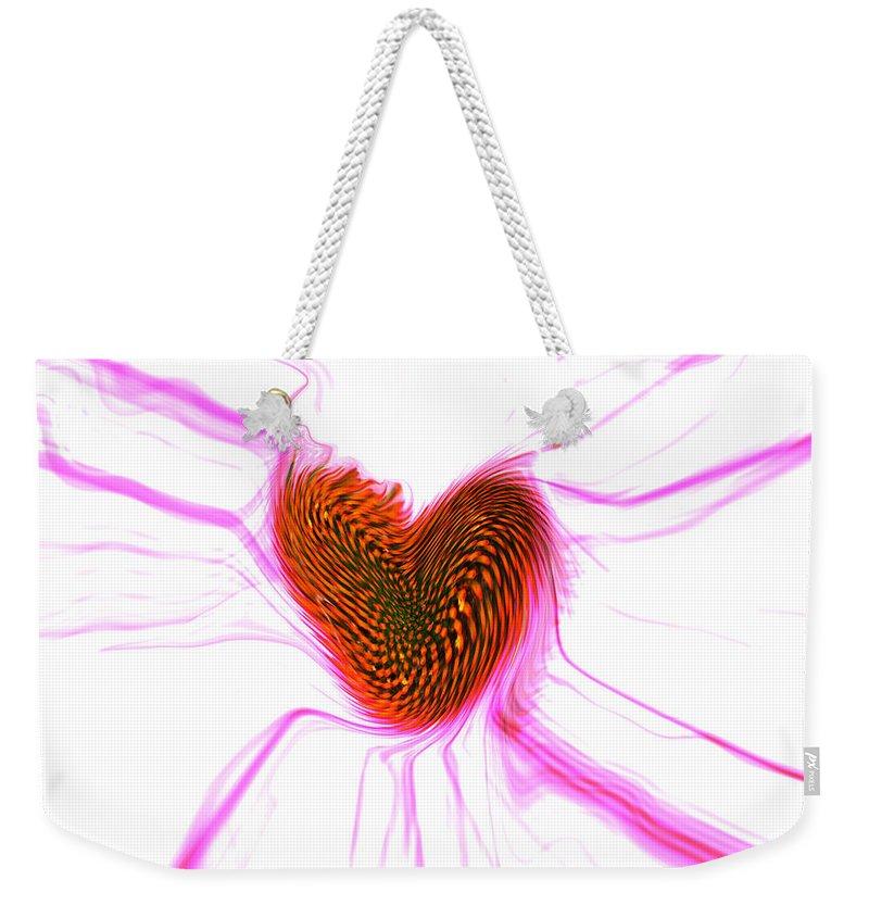 Abstract Art Weekender Tote Bag featuring the digital art Crazy Love by Linda Sannuti