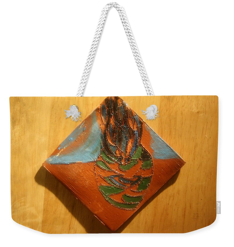 Jesus Weekender Tote Bag featuring the ceramic art Crazy Pineapple - Tile by Gloria Ssali