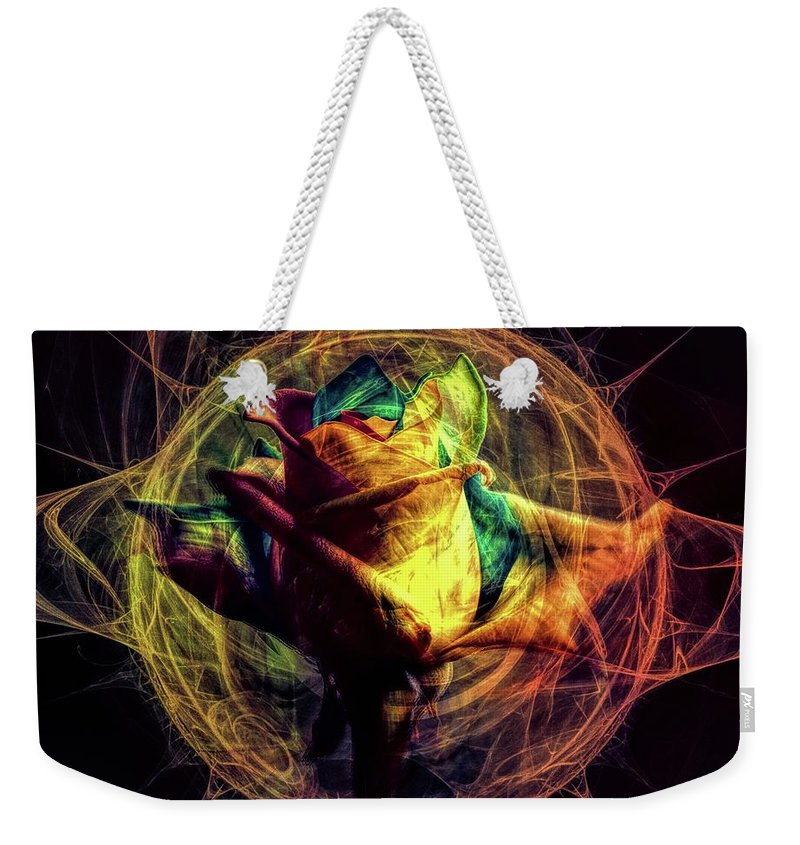 Crazy Rose Weekender Tote Bag featuring the digital art Crazy Rose by Lilia D