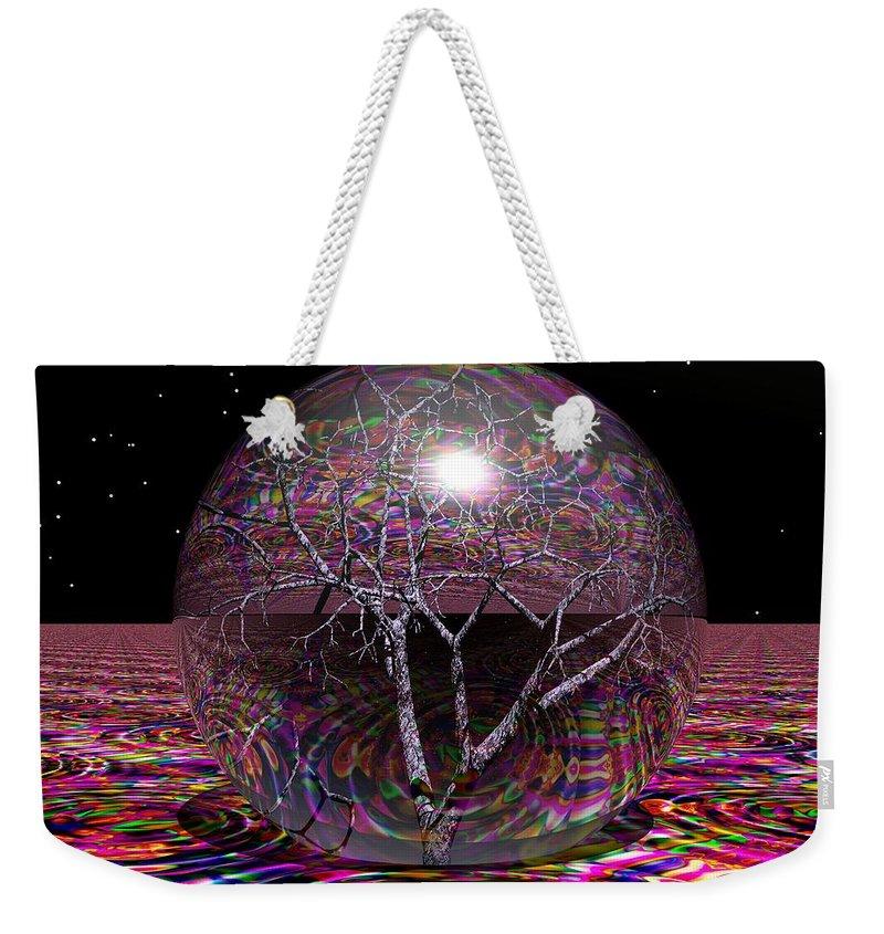 Sphere Weekender Tote Bag featuring the digital art Crazy World by Robert Orinski