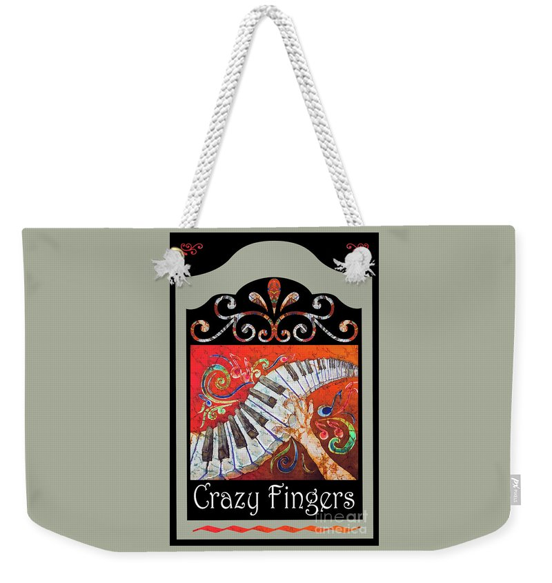 Piano Weekender Tote Bag featuring the mixed media Crazyfingers_frame1 by Sue Duda