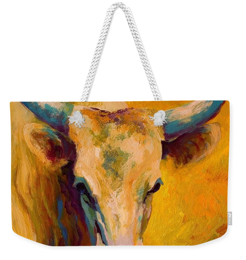 Longhorn Weekender Tote Bag featuring the painting Creamy Texan - Longhorn by Marion Rose