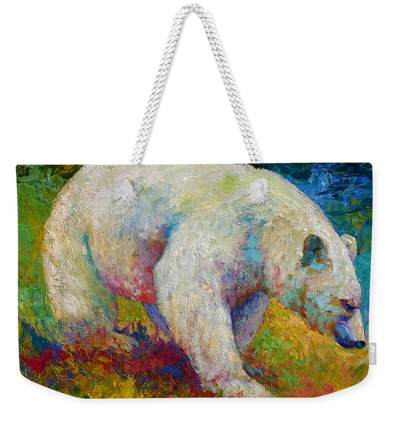 Western Weekender Tote Bag featuring the painting Creamy Vanilla - Kermode Spirit Bear Of BC by Marion Rose