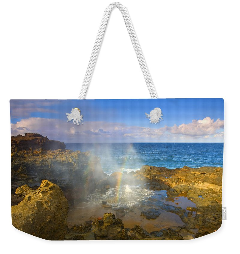 Blowhole Weekender Tote Bag featuring the photograph Creating Miracles by Mike Dawson