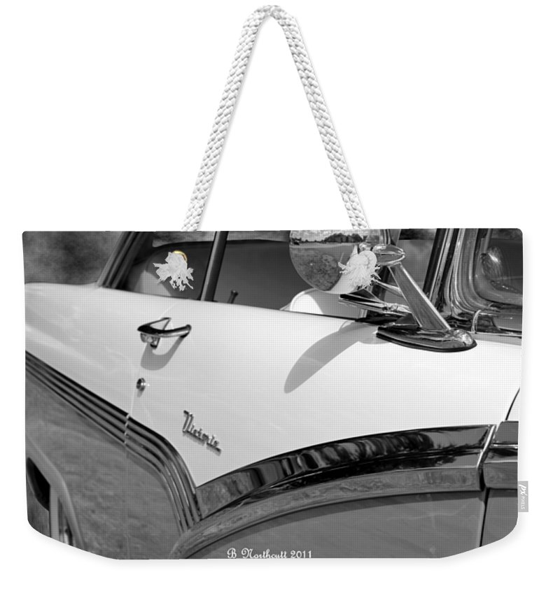 1956 Weekender Tote Bag featuring the photograph Creative Chrome - 1956 Ford Fairlane Victoria by Betty Northcutt