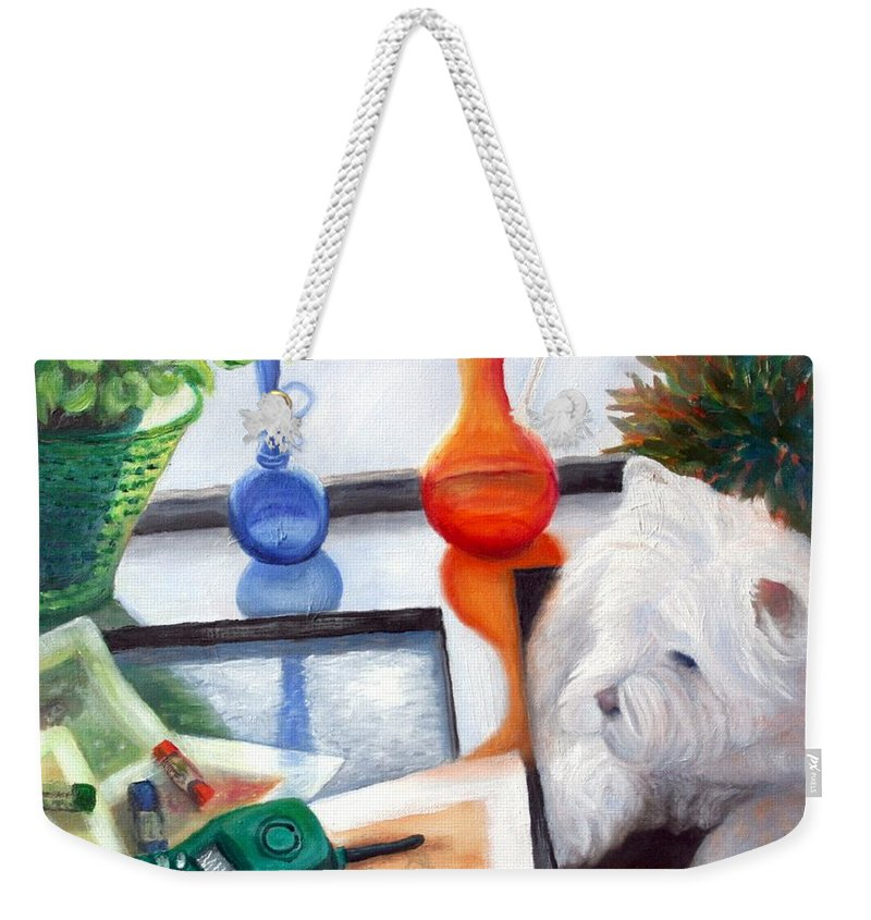 Dog Weekender Tote Bag featuring the painting Creative Reflections by Minaz Jantz