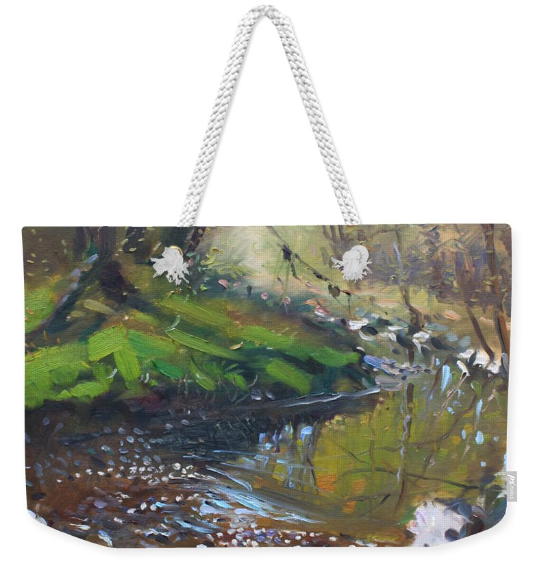 Lanscape Weekender Tote Bag featuring the painting Creek In The Woods by Ylli Haruni