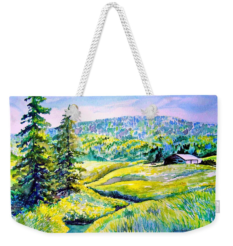 Arkansas Creek And Cottage Weekender Tote Bag featuring the painting Creek To The Cabin by Joanne Smoley