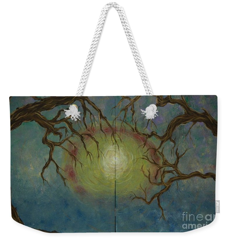 Tree Weekender Tote Bag featuring the painting Creeping by Jacqueline Athmann