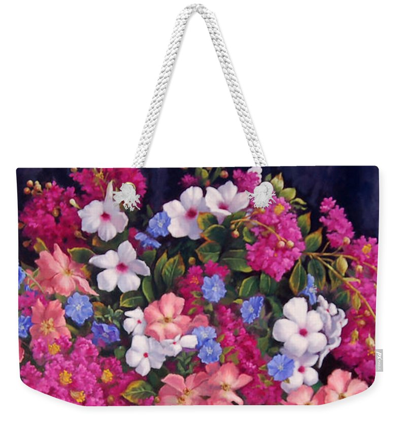 Roses Weekender Tote Bag featuring the painting Crepe Myrtle And Roses by Johanna Girard