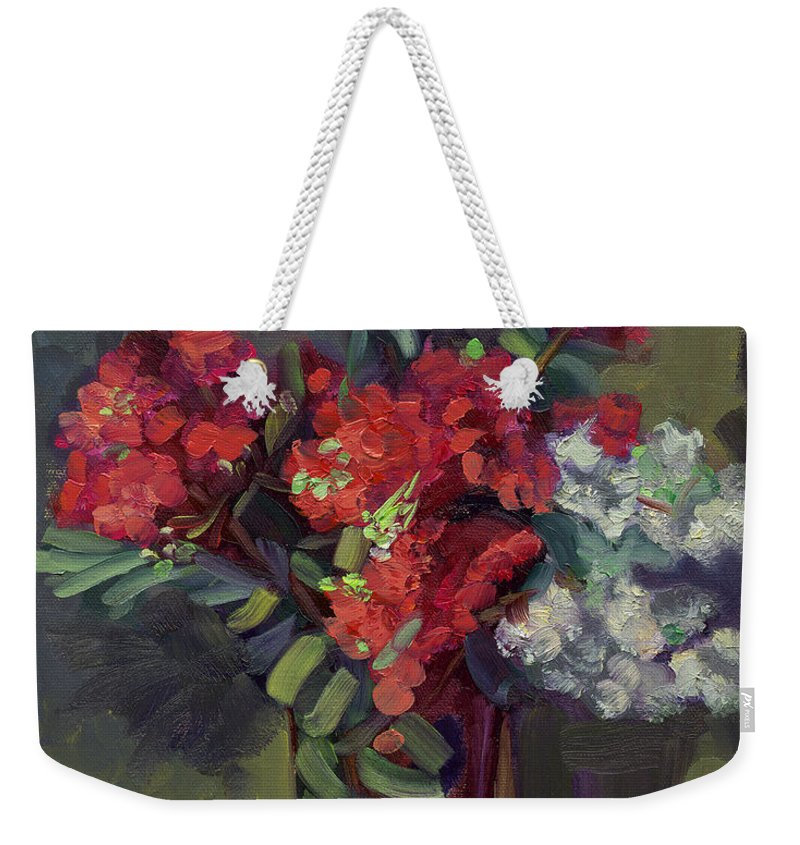 Floral Weekender Tote Bag featuring the painting Crepe Myrtles In Glass by Lilibeth Andre