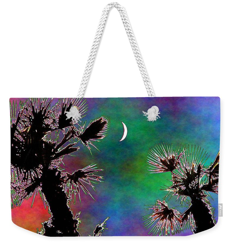 Moon Weekender Tote Bag featuring the photograph Crescent And Palms 2 by Tim Allen