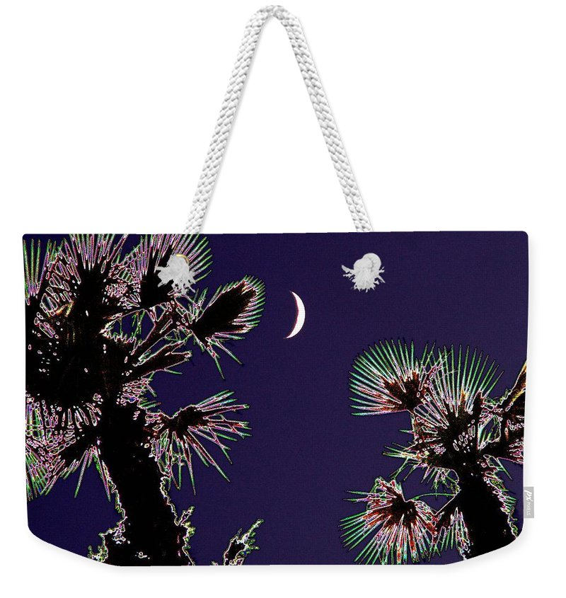 Moon Weekender Tote Bag featuring the photograph Crescent And Palms by Tim Allen