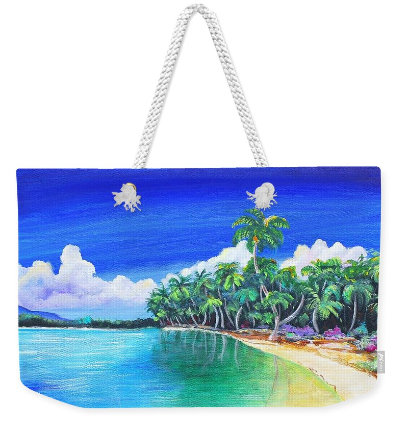 Crescent Beach Weekender Tote Bag featuring the painting Crescent Beach by Patricia Piffath