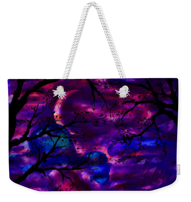 Abstract Weekender Tote Bag featuring the digital art Crescent Moon by Rachel Christine Nowicki