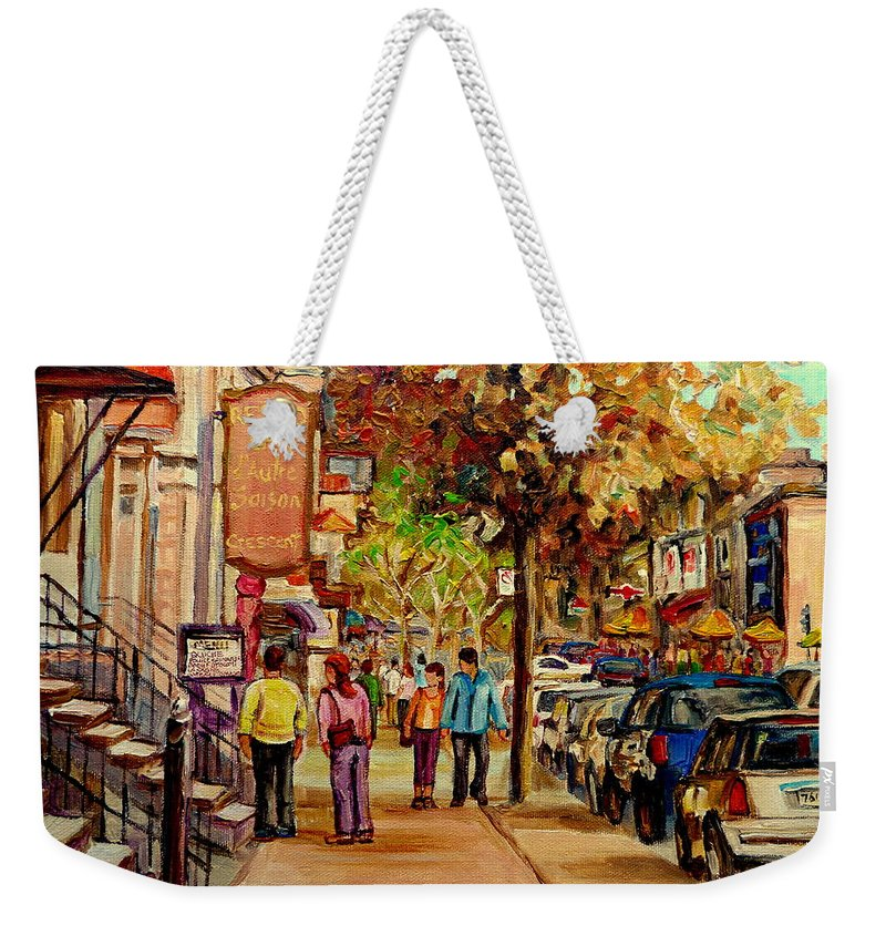Montreal Streetscenes Weekender Tote Bag featuring the painting Crescent Street Montreal by Carole Spandau